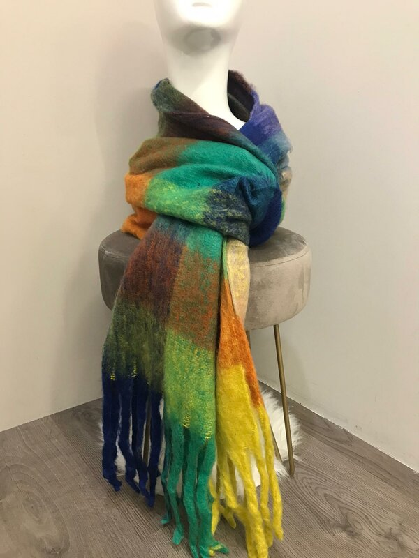 Warme sjaal felle kleuren