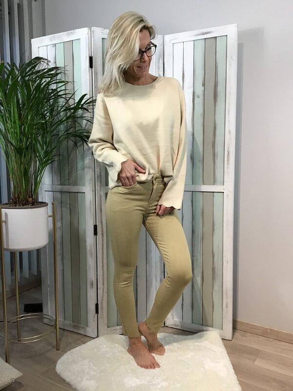 Broek beige hoge taille / skinny