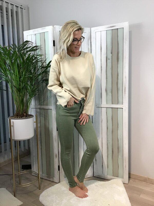 Broek kaki super hoge taille / skinny