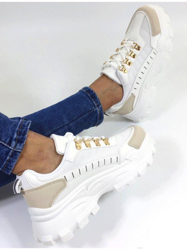 Sneaker wit beige