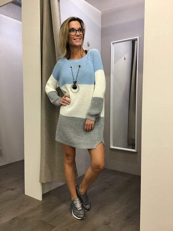 Pull kleedje met ketting blauw wit grijs