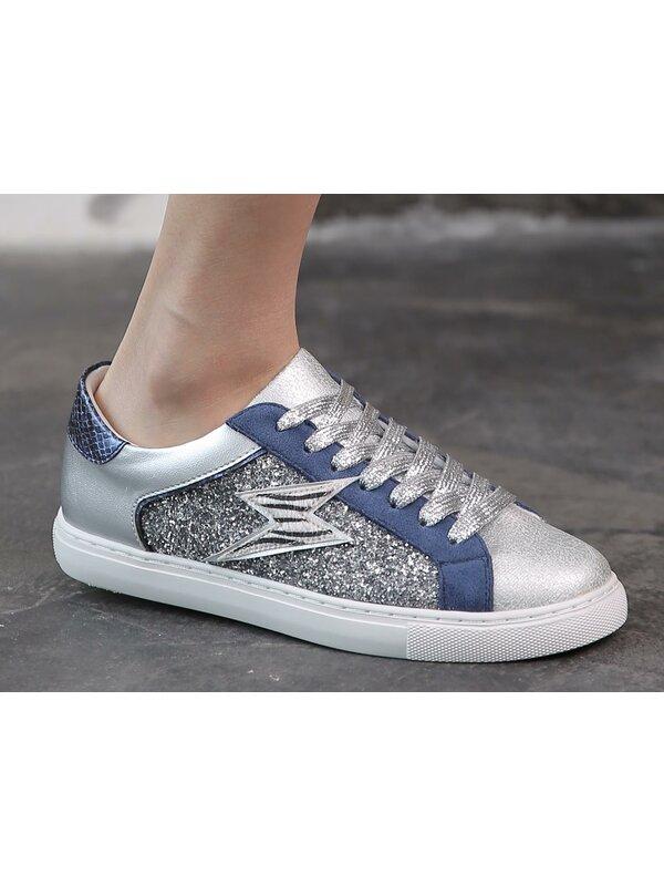 Sneaker blauw met glitter