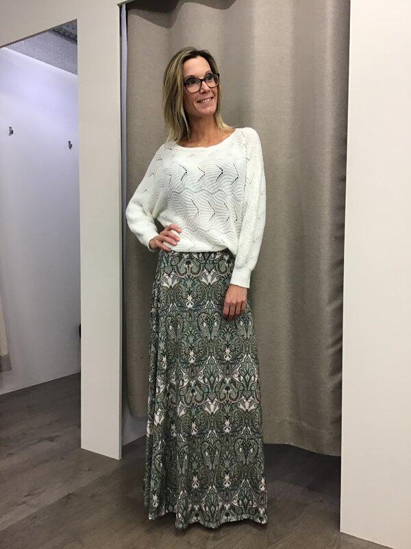 Lange rok met print kaki