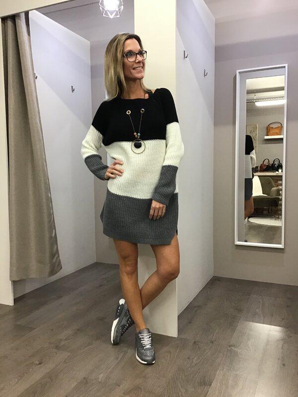 Pull kleedje met ketting zwart wit grijs