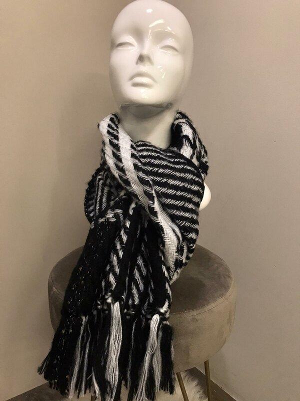 Sjaal zwart met wit
