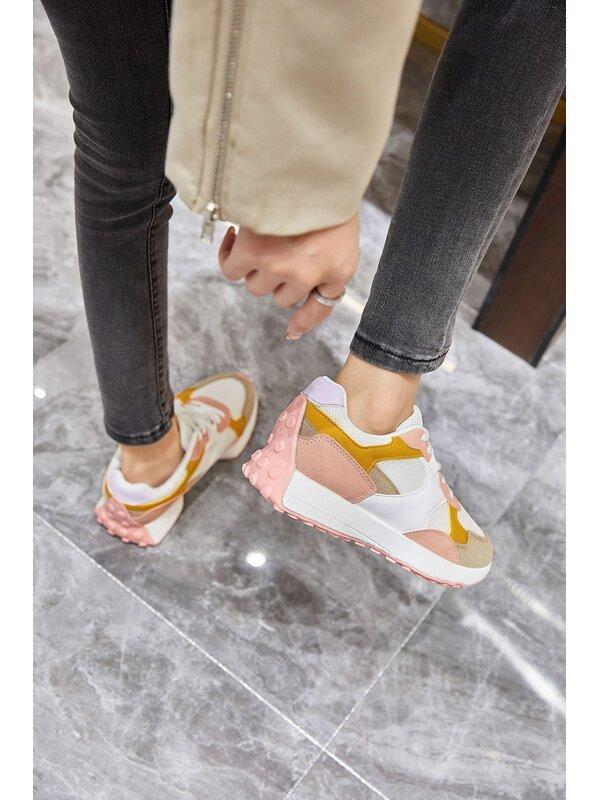 Sneaker wit pink oker en beige