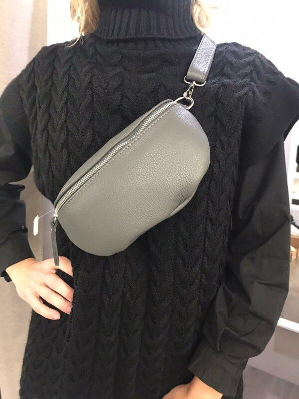 Leder schouder/heuptasje grijs