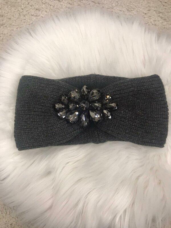 Haarband donker grijs met fleece voering