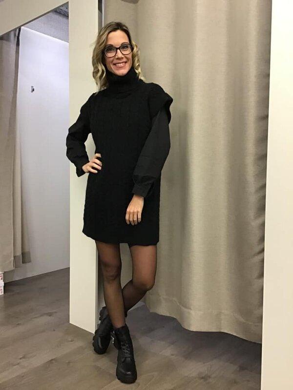 Lange pull/kleed debardeur model zwart