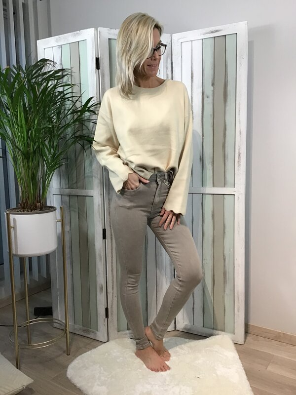 Broek grijs/beige super hoge taille / skinny