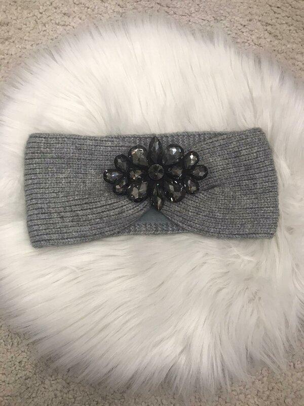 Haarband licht grijs met fleece voering