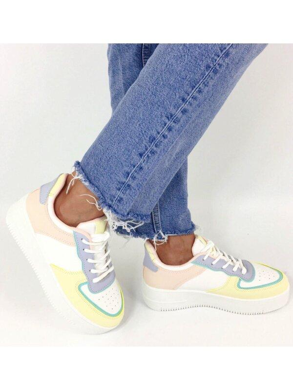Sneaker wit blauw geel en roze