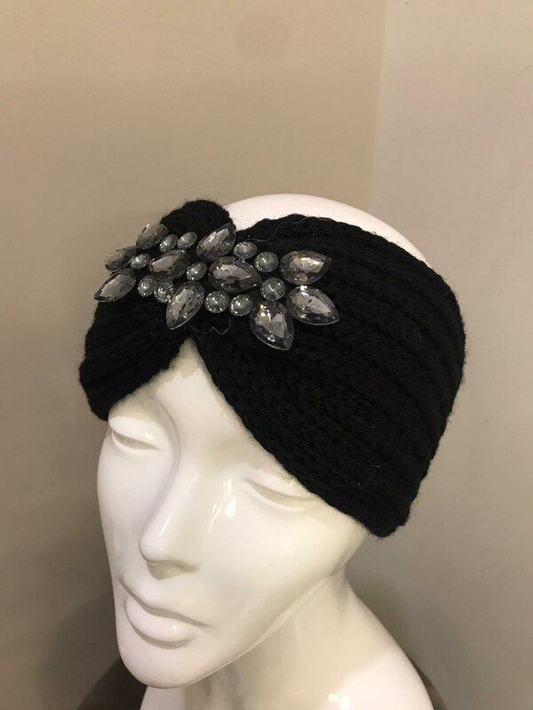 Haarband met steentje zwart