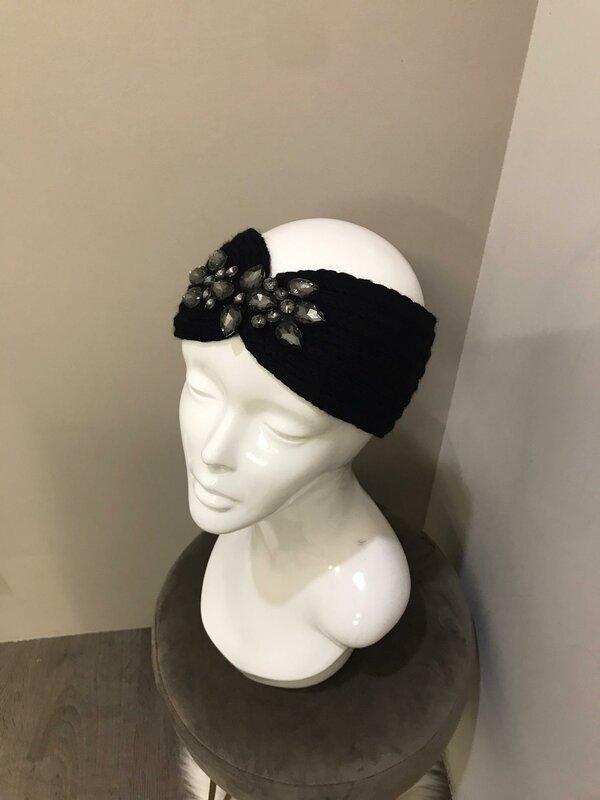 Haarband zwart met steentjes