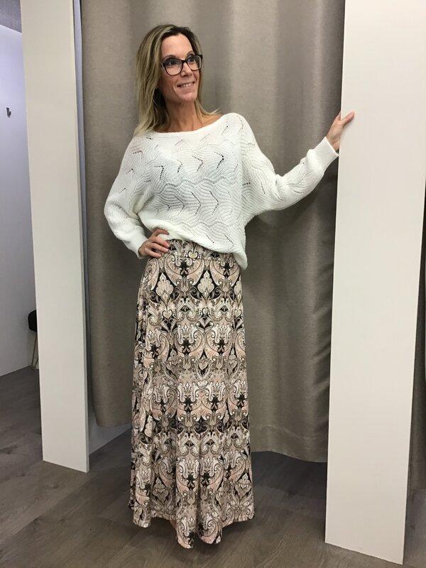 Lange rok met print beige tinten