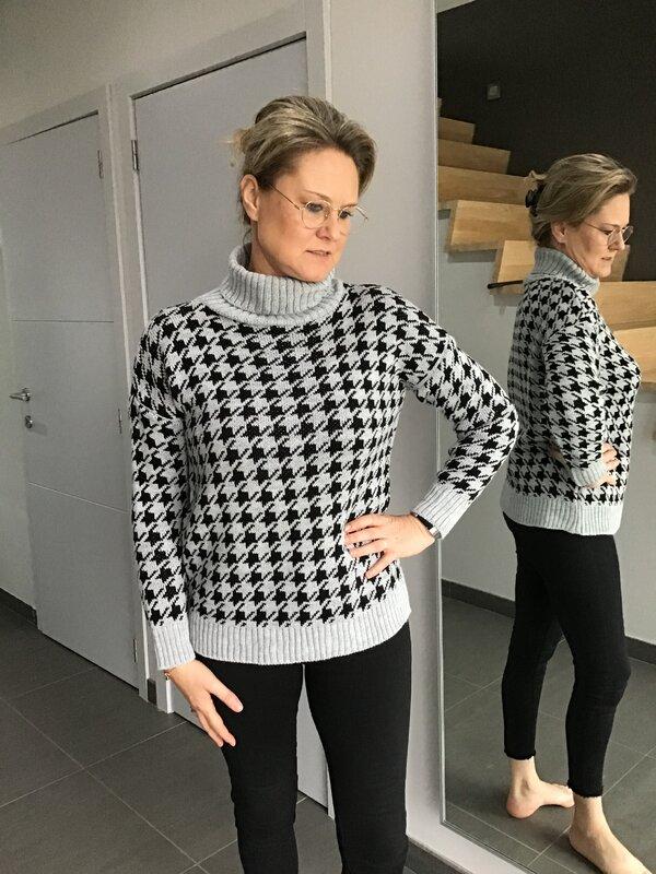 Pull met rolkraag grijs/zwart