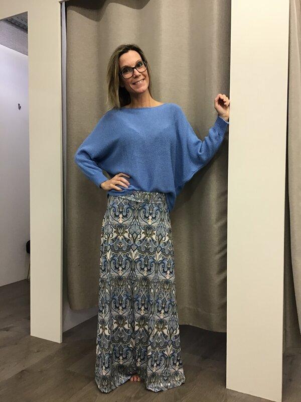 Lange rok met print blauw