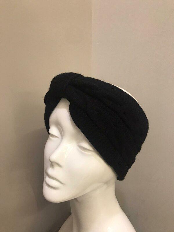 Haarband zwart met fleecevoering