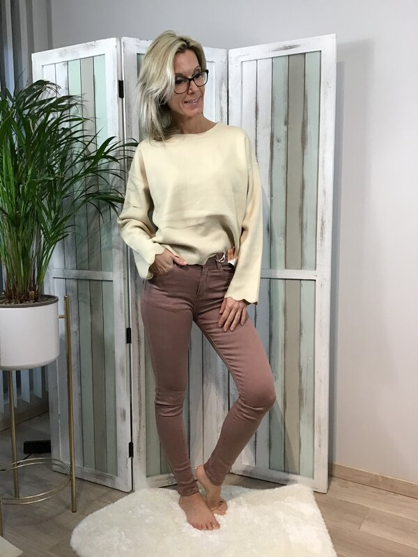 Broek oud roze hoge taille/skinny