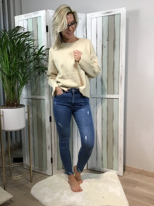 Jeansbroek blauw hoge taille / skinny