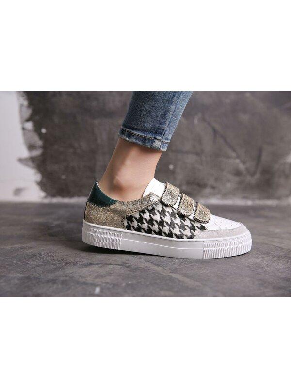 Sneaker Zwart wit groen met velcro sluiting