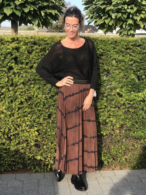 Lange rok in bruin/ zwart printje