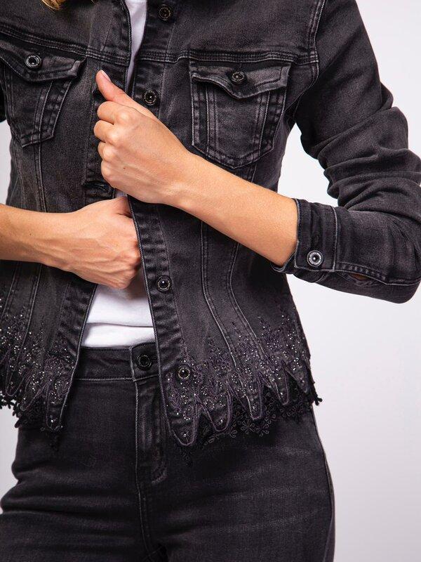 Zwarte jeans jas met fantasie