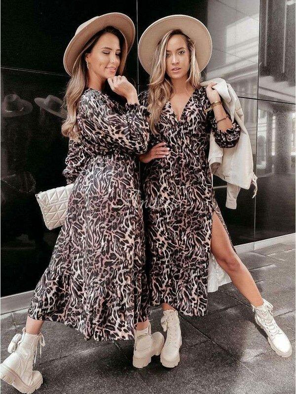 Lang kleedje met zwart beige roze print