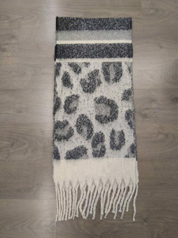 Dikke sjaal in zwart beige en grijze tinten