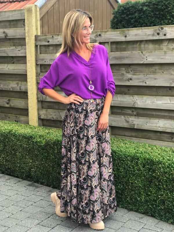 Lange rok met lila printje