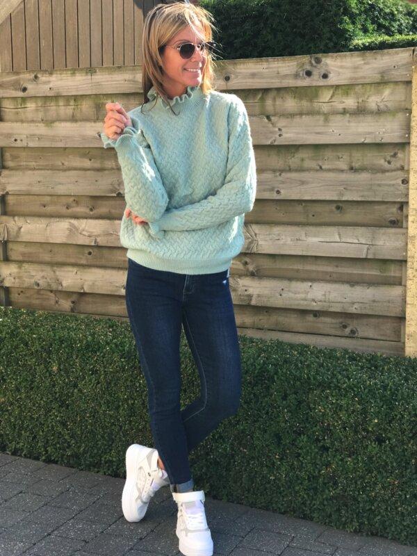 Donker blauwe jeans hoge taille en skinny