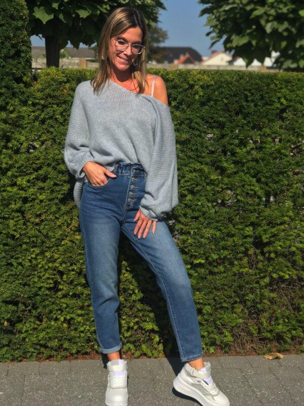Broek in jeans met elastiek aan bovenkant